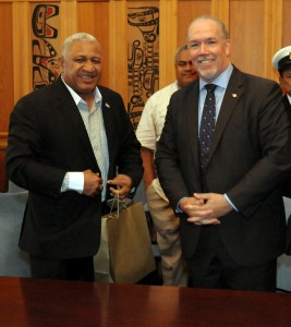 "Fiji Prime Minister Josaia Voreqe ""Frank"" Bainimarama with NDP Leader John Horgan at the B.C. Legislature in Victoria on Thursday."