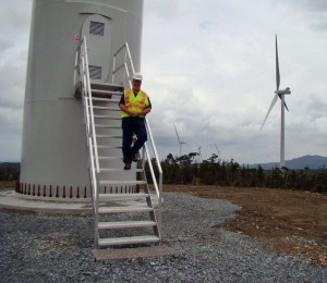 John Horgan checks out the Cape Scott Wind Farm